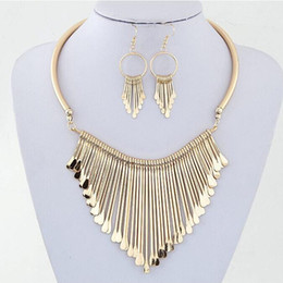 Wholesale Chunky Earrings Wholesale - Fashion Europen Bijoux Jewelry Set Trendy Chunky Tassel Necklaces & Pendants Jewelry Sets Women Earing and Necklace Sets