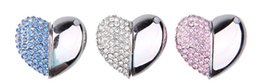 Wholesale Usb Thumb Drive 8gb - Stylish USB Flash Drive 8GB 16GB 32GB 64GB 128GB diamond crystal metal heart shaped best gift for her memory stick u disk thumb pen drive