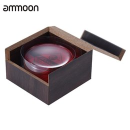 red wooden boxes Promo Codes - Wholesale- High-Class Transparent Red Resin Rosin Colophony Low Dust Handmade Rounded with Wooden Box Universal for Violin Viola Cello Erhu