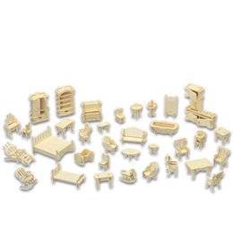 Wholesale Wooden Model Building For Kids - A Kids Toy Of 3d Wooden Puzzle 34 Pcs set Miniature 1:12 Dollhouse Furniture For Dollsmini Diy Building Model For Children Gift