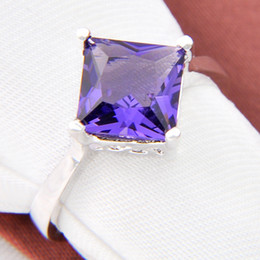 Wholesale Taper Sizes - 2015 Rotary Table Rodamiento Roller Tapered Bearing 4pcs 925 Silver Square Amethyst Gemstone Jewelry Rings #7 #8 #9 R0240 r0239 r0164 r0165