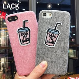 Wholesale Fuzzy Phone Cases - Funny DIY Cartoon Embroidery Case For iphone 7 Case Warm Fuzzy Cover Drinks Bottle Letter Phone Cases For iphone7 6 6S Plus