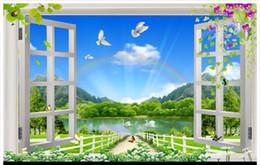 2019 fondo de pantalla 3d naturaleza High-end Custom 3d foto papel tapiz de pared papel de pared Naturaleza Paisaje 3D Ventana 3d sala de estar papel tapiz de fondo decoración del hogar rebajas fondo de pantalla 3d naturaleza