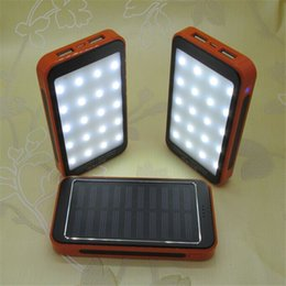Wholesale Solar Powered Lights For Camping - NEW Brand waterproof solar power bank 30000mah With camping lights Powerbank backup Power Supply battery charger For all phones