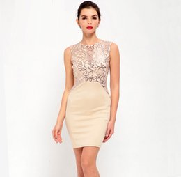 Wholesale Korean Bandage Dress - Apricot Blue Red Korean Women Sleeveless Floral Sequin Bodycon Bandage Dress Sexy Elegant Short Cocktail Party Dresses