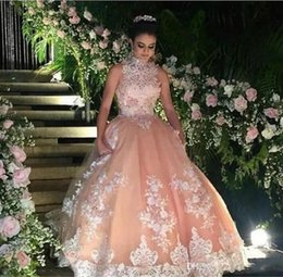Wholesale High Collar Ball Gowns - Peach Organza Quinceanera Dresses 2017 New High Neck Sleeveless Lace Appliqued Beaded Ball Gown Sweet 16 Floor Length Pageant Gowns Cheap