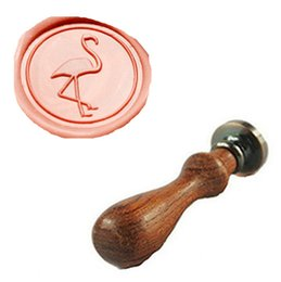Wholesale Custom Logo Wax Seal - Wholesale- Vintage Cute Flamingos Custom Picture Logo Wedding Invitation Wax Seal Sealing Stamp Rosewood Handle Set