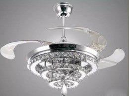 Wholesale Modern Chandelier Copper - LED Crystal Chandelier Fan Lights Invisible Fan Crystal Lights Living Room Bedroom Restaurant Modern Ceiling Fan 42 Inch with Remote Control