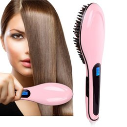 Wholesale Ion Ceramic Hair Straightener - 2017 ion brushes straight comb hair straightener is self comb hair smooth liquid crystal display (LCD) straight hair brush