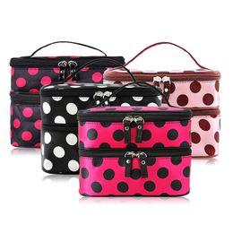 Wholesale Retro Makeup Case - Portable Double-Deck Zipped Enclosure Water resistant Nylon Cosmetic Retro Dot Multi Functional Beauty Makeup Hand Case Bag