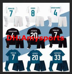 Wholesale Black Soccer Jerseys Custom - 2017 2018 kids Kits socks set Real madrid soccer Jerseys Custom youth boy RONALDO white Black JAMES BALE RAMOS ISCO MODRIC football shirt