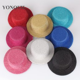"""Wholesale Diy Mini Hats - Free shipping 5.2""""(13cm) 8 color BLINGBLING mini top fascinator hats, party hats,DIY hair accesspries 12pieces lot MYQH008"""