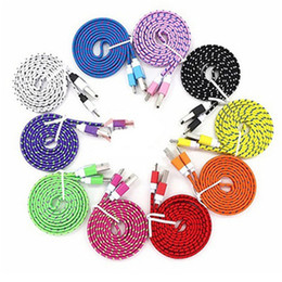 Wholesale Iphone Charger Noodle Cable - Braided Wire noodle flat type-c Micro USB Cable 1M 2M 3M Sync Nylon Woven V8 Charger cable for Samsung Galaxy S8 S7 HTC