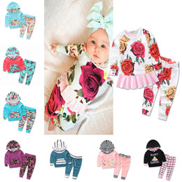 Wholesale Boy Hooded Suit Winter - striped print two-piece infant clothing set kids winter clothing Hooded and pants suits girls boys baby clothes flower girl 893