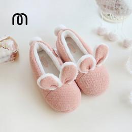 Wholesale Super Cute Bunny - Wholesale-Millffy new Cotton warm shoes cute adorable bunny slippers rabbit super soft warm anti- slip shoes