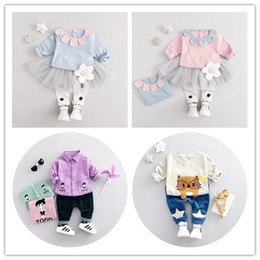 Wholesale Tutu Wholesale Materials - Baby cute cat cartoon pattern children suit blouse and pants kids clothes 1-3years cotton material baby dress sets free shipping
