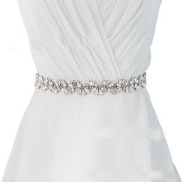 Fashion formales imágenes online-2019 Cinturones de boda modestos Imagen real Cristal Rhinestone Cinturón nupcial Fajas de boda Moda de lujo 100% puros hechos a mano con cuentas cinturones baratos