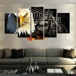 Canada Drop Shipping 5 Pièce HD Imprimé Eagles Moto Peinture Moderne Image Mur Décor Art Pour La Maison Décoration Pas Cher Sur Toile Prints Offre