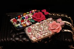 Wholesale Bling Iphone Big - luxury Perfume Bottle bling diamond Case TPU cover for iphone 7 6 6s plus 5S Samsung Galaxy S5 s6 s7 edge s8 big rose flower Lanyard Chain