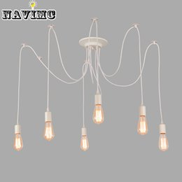 Wholesale Spider Light Bulbs - Modern Nordic Retro Edison Bulb Light Chandelier Vintage Loft Antique Adjustable DIY E27 Art Spider Pendant Lamp Home Lighting