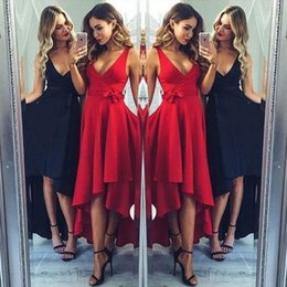 Wholesale Gown High Neck Design - Cheapest Simple Design Prom Evening Dresses 2017 A Line V Neck High Low Pleats with Sash Party Occasion Homecoming Gowns
