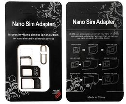 Wholesale Micro Sim Card Tray - 2017 Noosy Nano Sim Card Adapters Micro Converter 4 in 1 Set Kit Eject Pin Pick for Cell Phone Android iPhone 4 5 6 7 Black White Retail Box