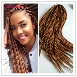 Wholesale Curly Hair Two Tone Color - 18,24inch Crotchet box braids 3x box braids hair crochet hair extension two tone straight drop shipping synthetic braiding hair
