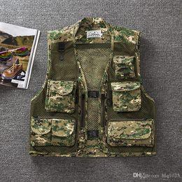 Wholesale Multi Pockets Vests - Summer men Multi Pockets Camo Fish Hunt Vest Shooting Waistcoat Esporte Sleeveless Jacket mesh Camouflage Vest
