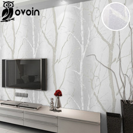 Wholesale Grey Paper Roll - Grey Beige Minimalist Nature Birch Tree Forest Woods Wallpaper Wall Coverings Modern Design Bedroom Wall paper For Living Room