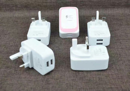 Wholesale Ic Power Iphone - Beetle Pattern Dual USB Wall charger 2.1A Real Adaptive Fast Charger US EU UK Plug IC Power 800pcs lot