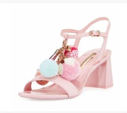 Wholesale Cute Heels Pumps - 2017 Bohemian style Women sandals chunky heel Sandals party shoes cute pom pom sandals print leather pumps pink high heels
