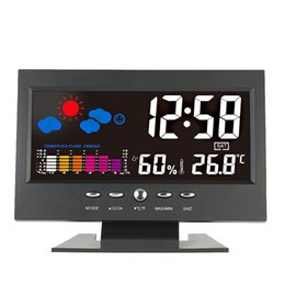 Wholesale Lcd Thermometer Hygrometer Clock - Digital Thermometer Hygrometer weather station Alarm Clock temperature gauge Colorful LCD Calendar Vioce-activated Backlight