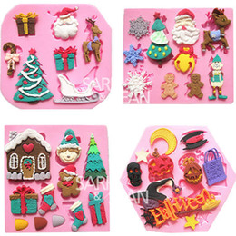 Wholesale Santa Claus Molds - 4pc set Halloween Christmas tree Santa Claus sled Reindeer fondant cake molds soap chocolate mould for the kitchen baking