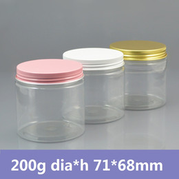 Wholesale pink plastic cosmetic jars wholesale - Wholesale- 42pcs lot 200g Plastic Jar with Gold White Pink Aluminum cap PET Cream Container,Clear PET Plastic Can,Cosmetic Jar