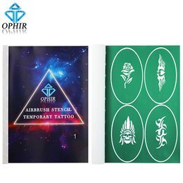 Wholesale body tattooing kit - Wholesale-OPHIR 100 Patterns x Airbrush Stencils Body Paint Reusable Templates Sheets for Body Temporary Tattoo Stencils Sets _STE1