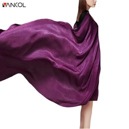 Wholesale Solid Color Long Silk Scarves - vancol 2017 scarf luxury brand big size long satin silk summer scarf women fashion shawl solid color purple women beach scarf su