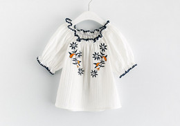 Wholesale Kids Blouse Embroidery - 2017 cute Baby Girls Summer Ruffles short Sleeve hollow embroidery Tops shirts kids summer clothing children princess girl T shirts