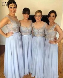 Wholesale Long Comfortable Dresses - 2017 A-line Chiffon Applique Lace Full Length Bridesmaid Dresses Formal Maid Of Honor Comfortable Female Dress