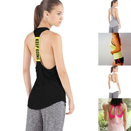 Wholesale Stretch Tank Tops Women - Womens Sports Gym Slim Running Stretch Workout Sleeveless Backless Vest Tank T-Shirt Fitness Jogging Yoga Singlet Top Blouse