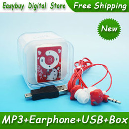 Wholesale Voice Box Music - Wholesale- 10pcs lot New Style Mini Hello Kitty MP3 Music Player Clip MP3 Players Support TF Card With Hello KItty Earphone&Mini USB&Box