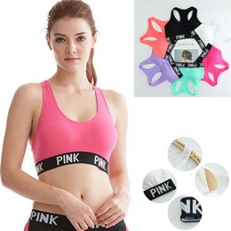 Wholesale Wholesale Wire Bras - Sexy Women Yoga Bra Padded Shirts Vest Breathable Running Fitness Gym Sports PINK Letter Seamless Fitness Underwear Ladies Tank Crop Tops