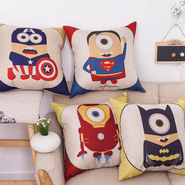 Wholesale Minions For Sale - Hot sale despicable me cute cartoon pillowcaser 45cm*45cm cushion cover minions superhero modelling decoration bolster for home garden car