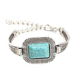 Wholesale Turquoise Squares Bracelet - Wholesale- New Arrival Vintage Square Turquoise Bracelet Fashion Silver Plated Bracelets for Women 2015 Beset Christmas Gift