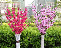 Wholesale artificial silk tree - 100Pcs Artificial Cherry Spring Plum Peach Blossom Branch Silk Flower Tree For Wedding Party Decoration white red yellow pink color