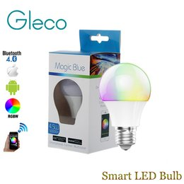 Wholesale Rgbw Led Bulb - New Magic Blue 4.5W E27 RGBW led light bulb Bluetooth 4.0 smart lighting lamp color change dimmable AC85-265V for iphone