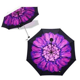 Wholesale Umbrella Printed Fabric - Free Shipping Creative-umbrella High Quility 3D Flower Print Parasol Anti UV 3 Folding Sun Umbrella Rain 8 Colors