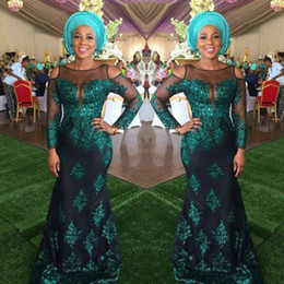 Wholesale Ling Dresses - Dark Green African Prom Dresses Sheer Neck Lace Appliques Off Shoulder Evening Gowns Illusion Ling Sleeves Mermaid Arabic Formal Party Dress