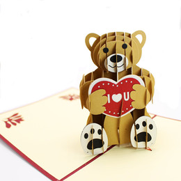 Wholesale Vintage Birthday Greeting Cards - Teddy pop up birthday card handmade vintage 3D greet cards heart shape birthday cards free shipping