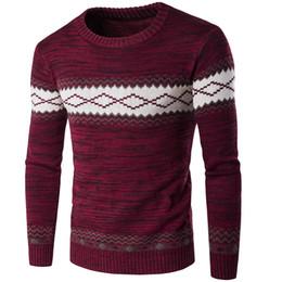Hombre de puentes de navidad online-Estilo de Inglaterra Hombres de invierno Suéter de Navidad Patrón masculino Diseñador Suéter Jumper Slim Fit O-cuello Pullover Hombres Sweatershirts
