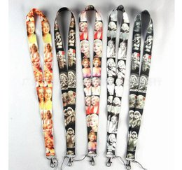 Wholesale Marilyn Monroe Lanyards - Free Shipping 50pcs Marilyn Monroe Neck Lanyard Multicolor Phone Accessories Cell Phone Camera Neck Straps Lanyard Gifts